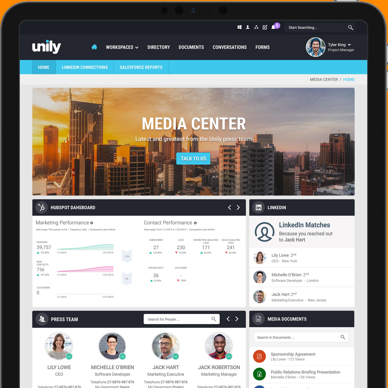 Retail intranet homepage