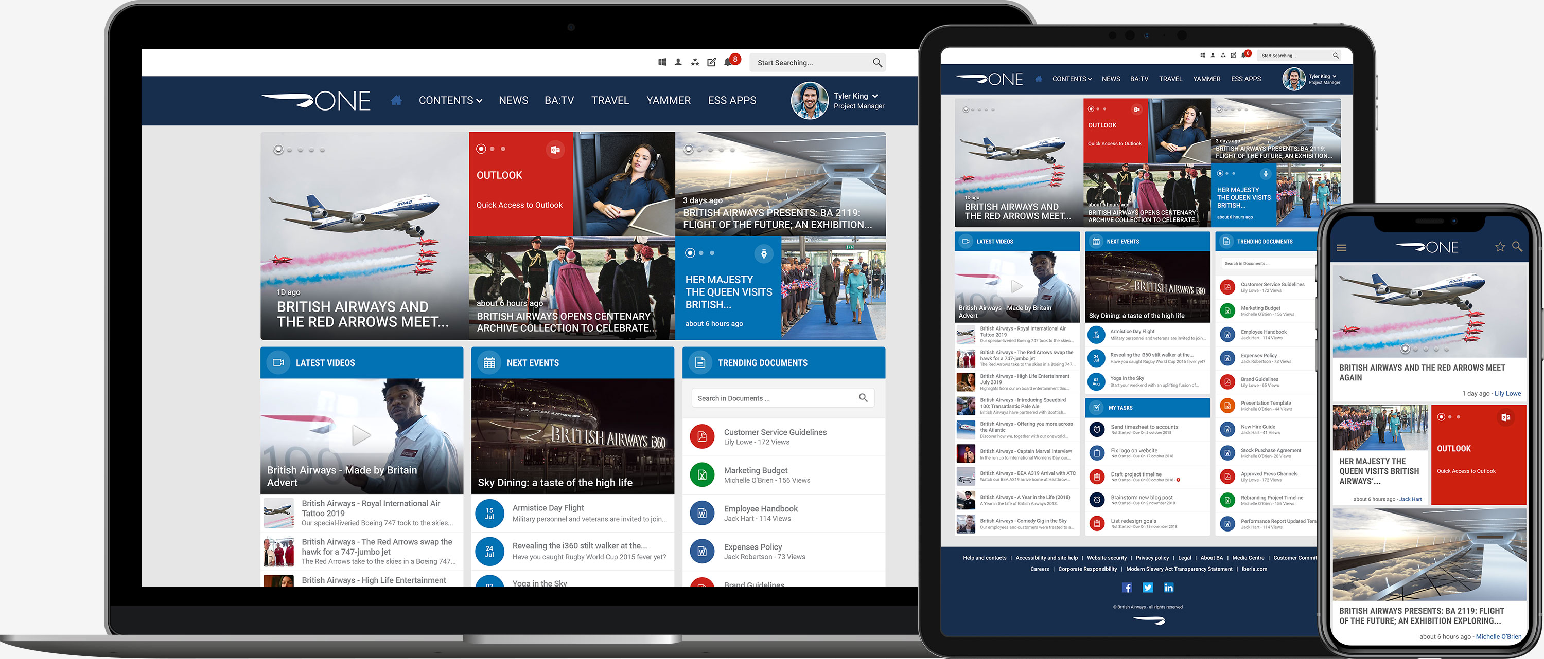 British Airways Intranet on Mobile, Tablet and Laptop
