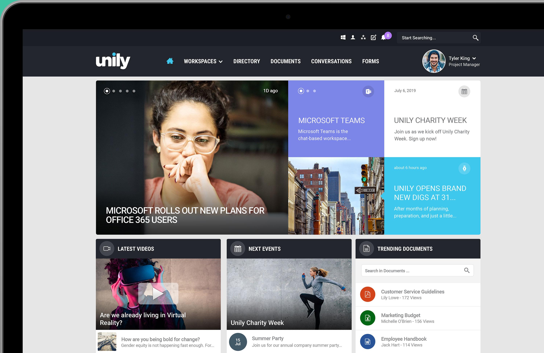 Intranet homepage on desktop