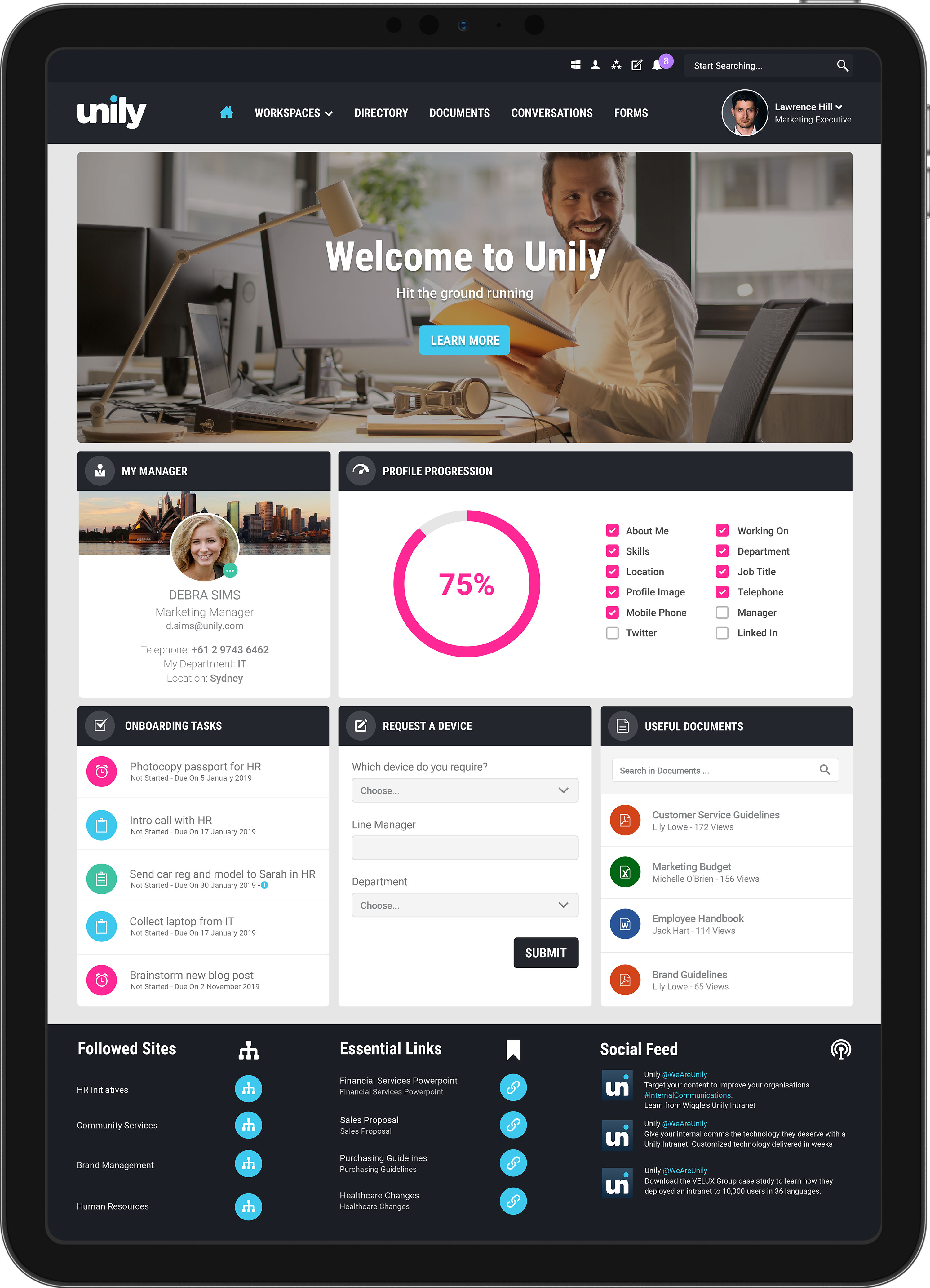 Human resources onboarding homepage