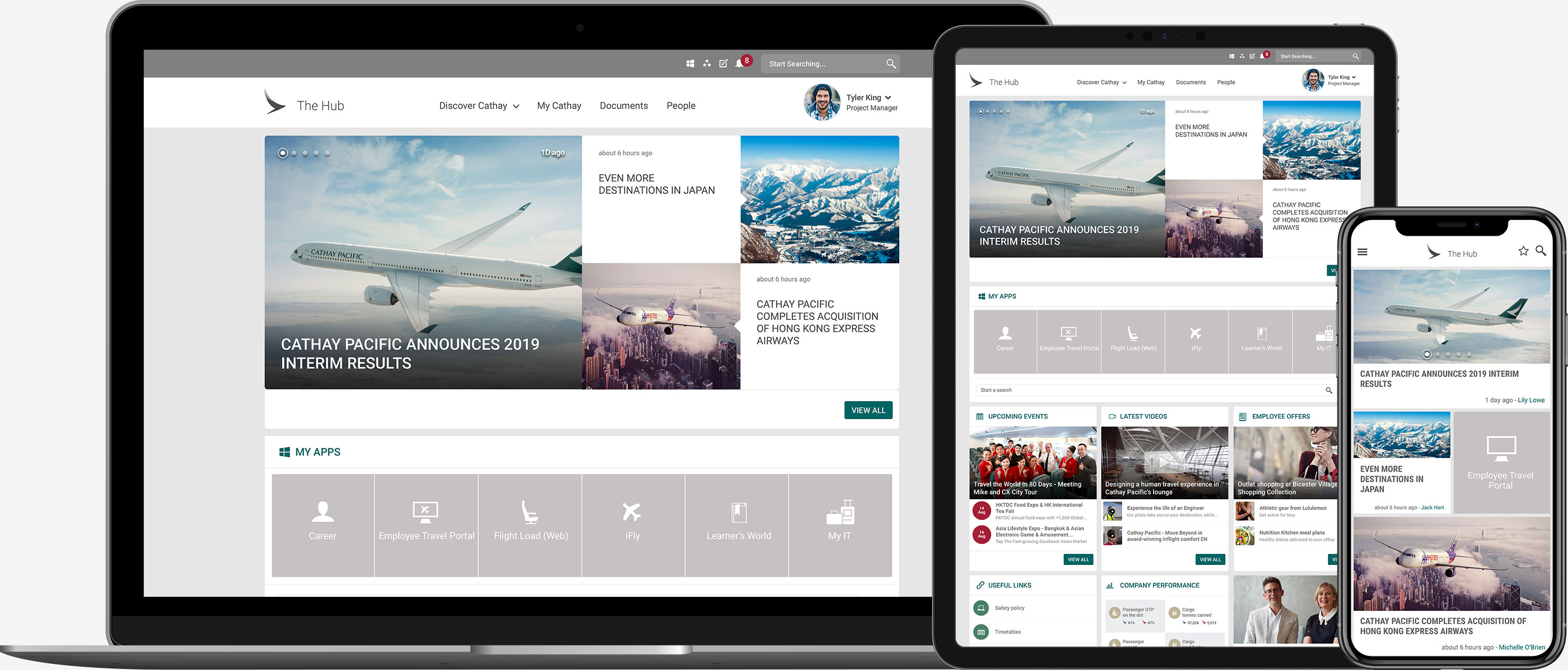 Cathay Pacific Intranet on Mobile, Tablet and Laptop
