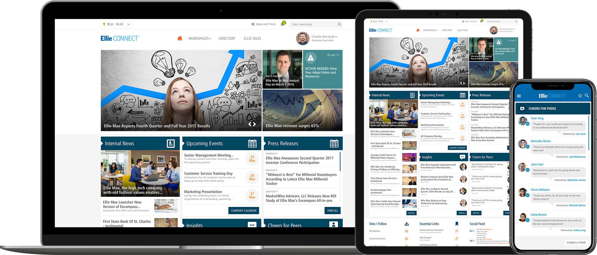Ellie mae homepage on desktop, tablet and mobile