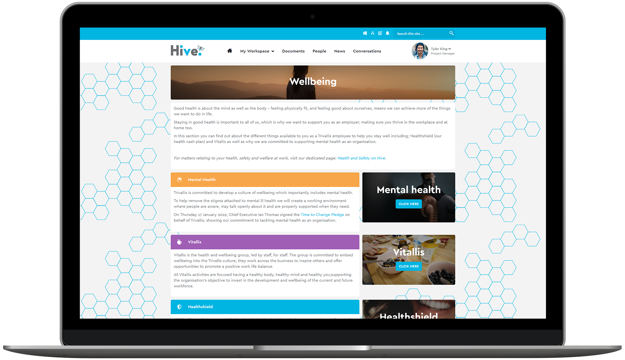 Trivallis' Wellbeing page is a gateway to Vitallis
