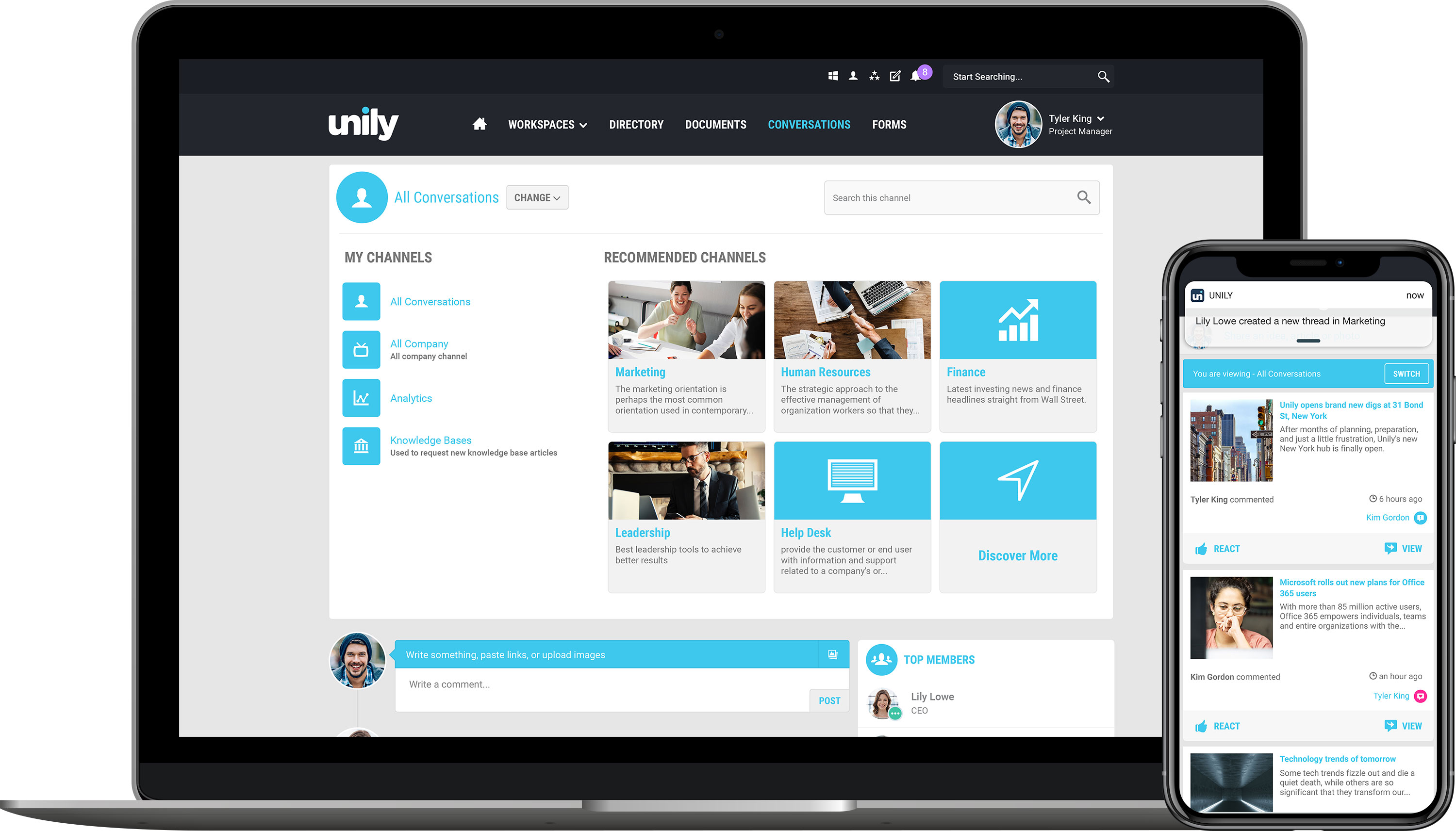 Unily Social channels across devices