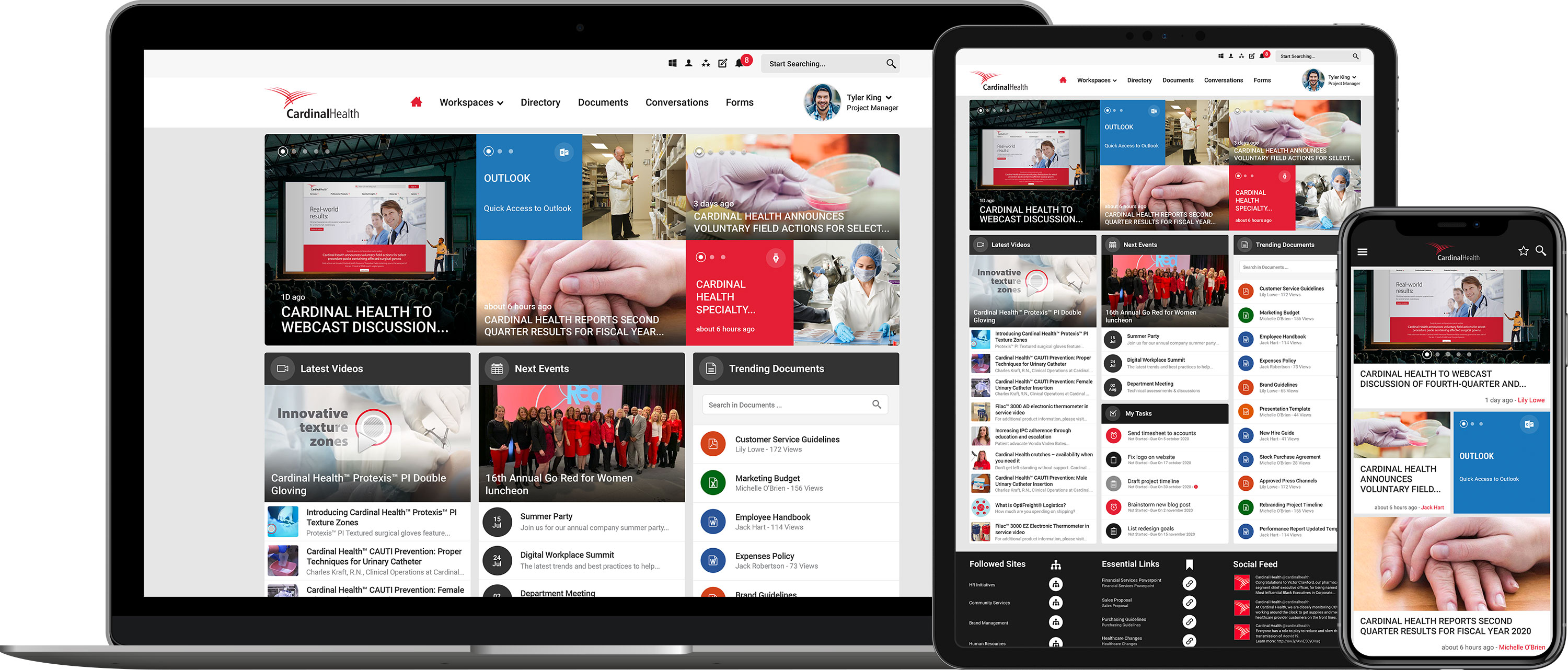 cardinal health intranet homepage on desktop, tablet and mobile