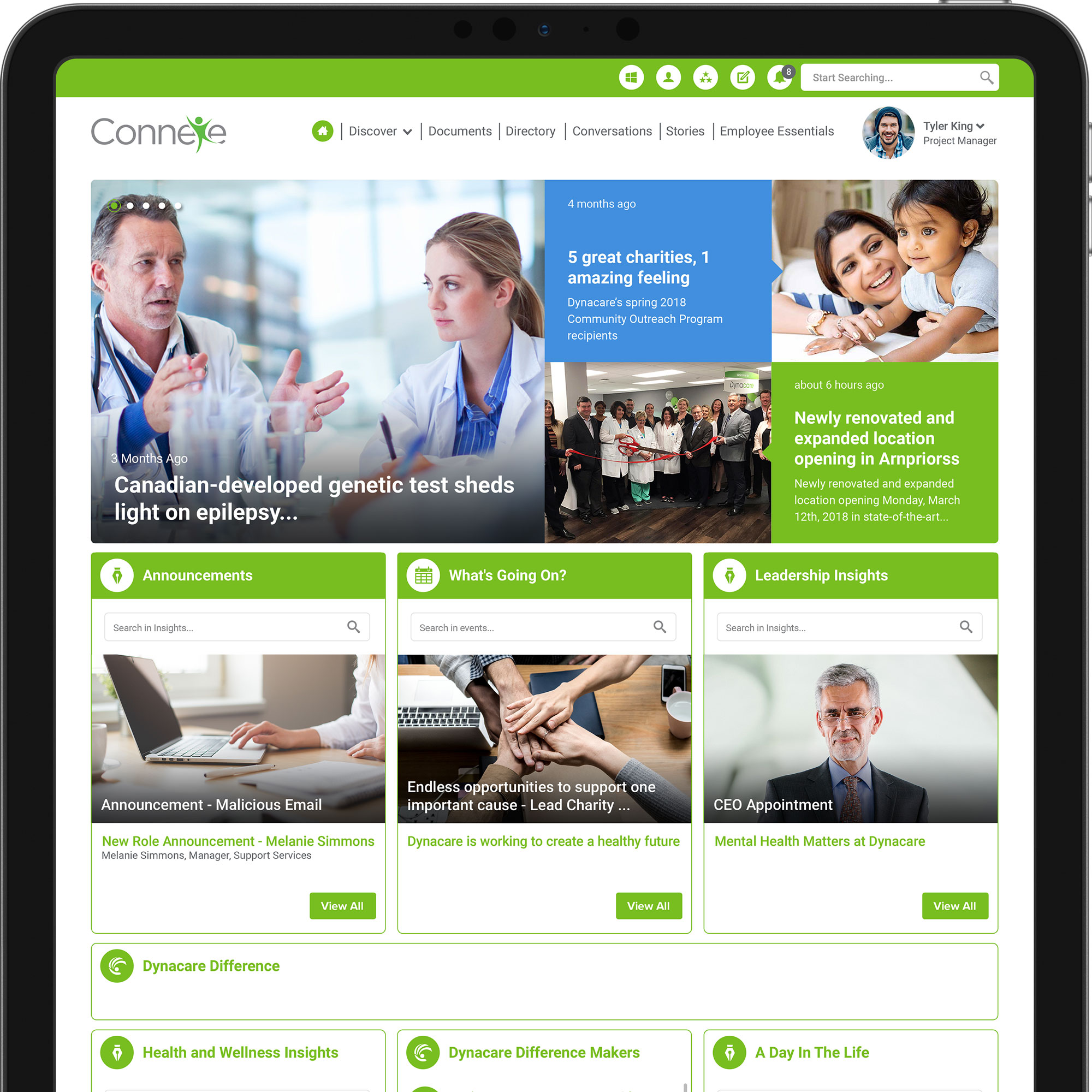 Dynacare's intranet homepage on a tablet