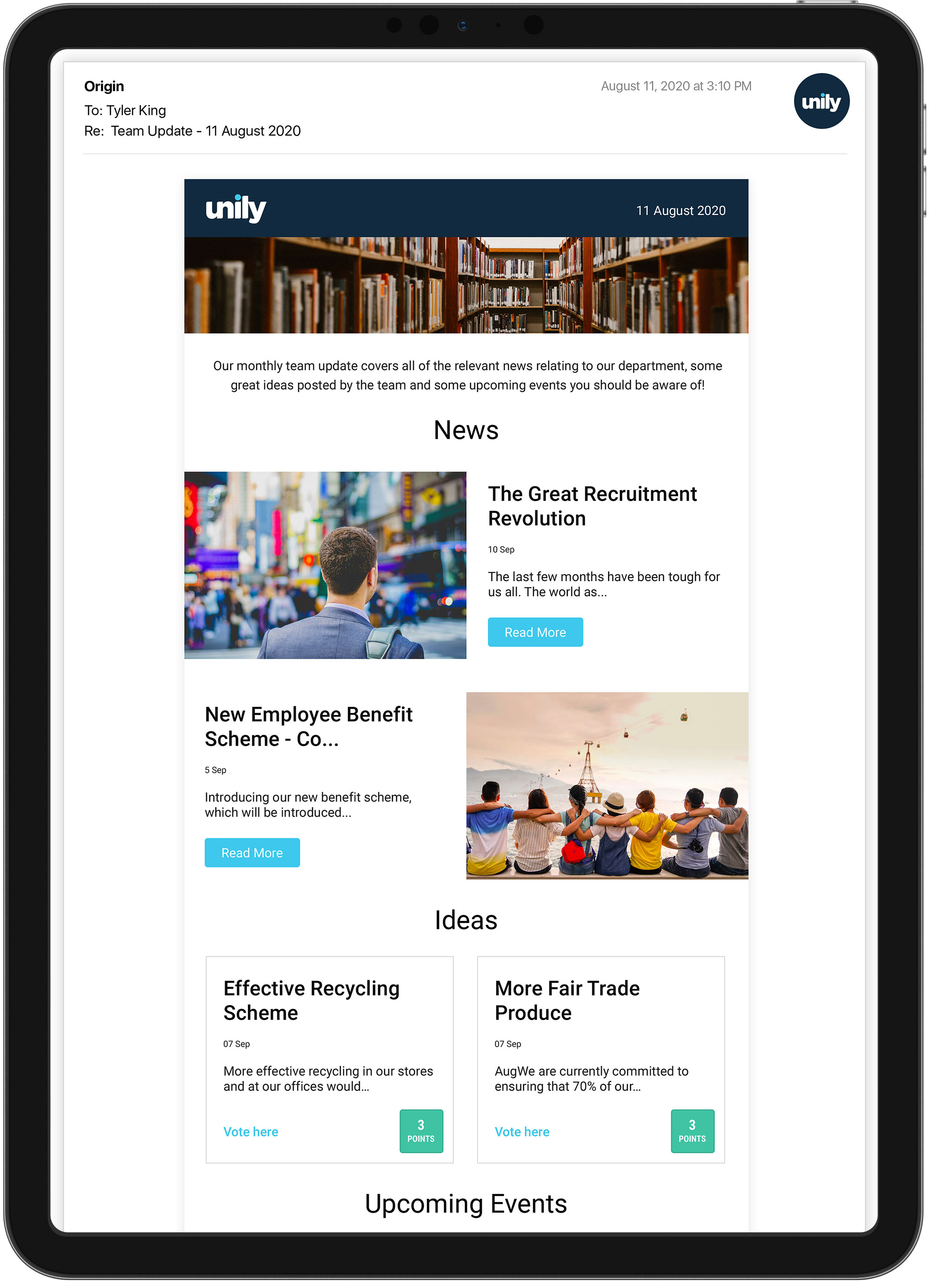 email newsletter template for news updates
