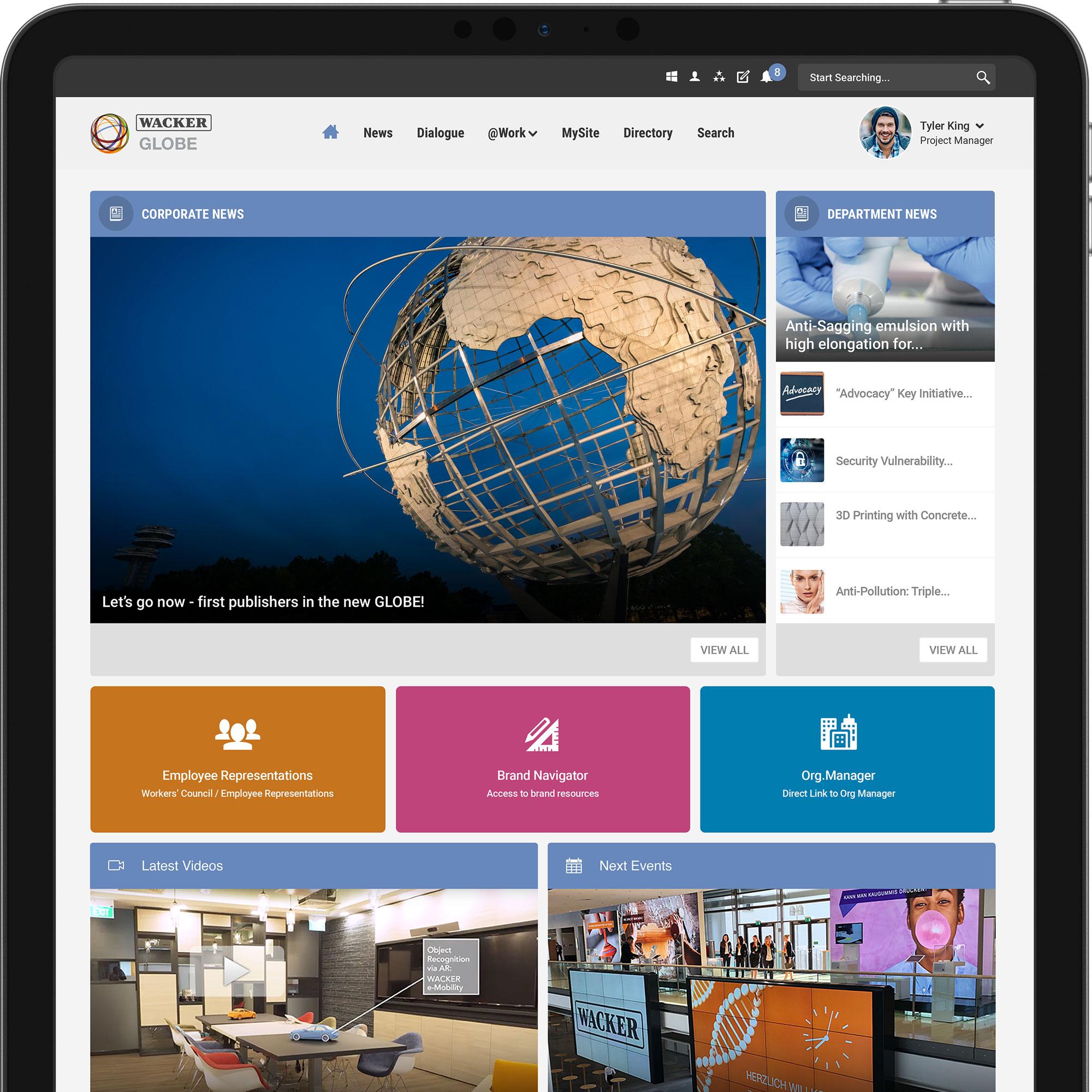Wacker intranet homepage to enhance collaboration