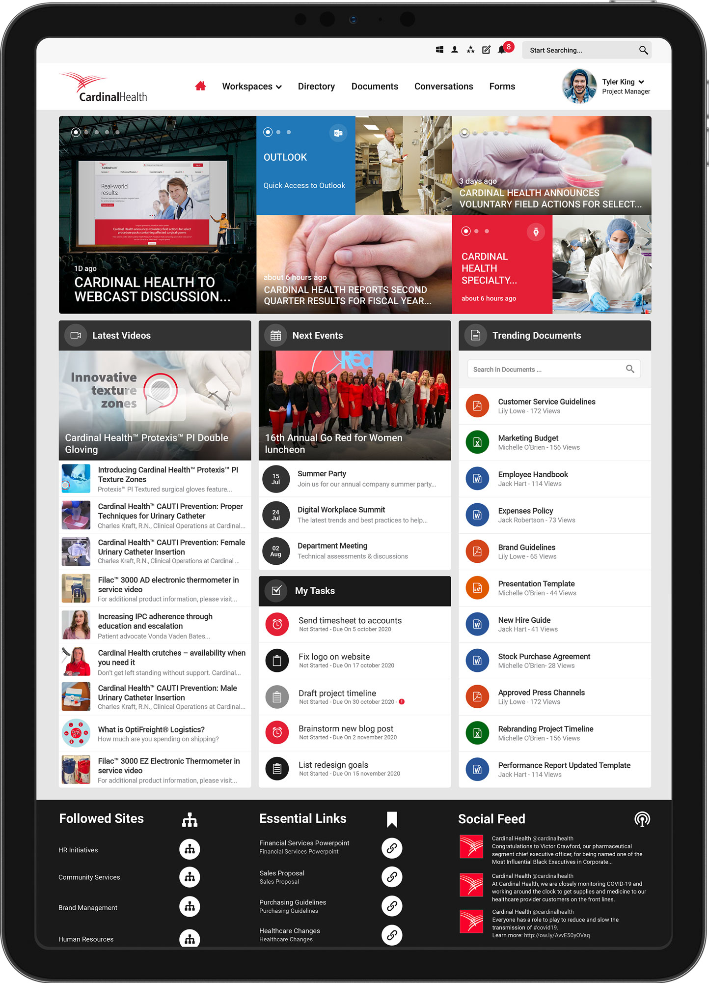 Cardinal Health healthcare intranet homepage on a tablet